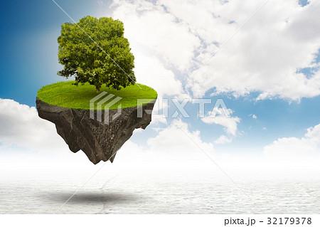 Single tree on floating island - 3d rendering 32179378
