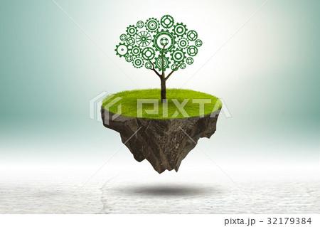 Single tree on floating island - 3d rendering 32179384