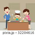 家族 クッキング 料理のイラスト 32204616