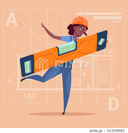 Cartoon Woman Builder Holding Carpenter Level 32209082