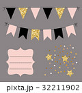 Set of golden, black and pink flat buntings 32211902