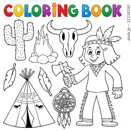 coloring book native american theme 2のイラスト素材 32236592 pixta