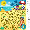 メイズ 迷路 ビーチのイラスト 32236615