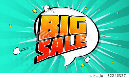 Big sale pop art splash background, explosion in 32246327