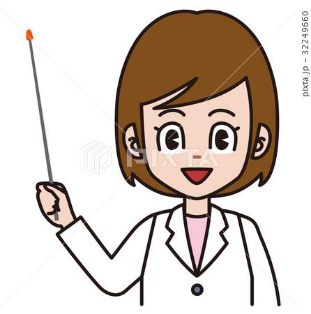 指し棒で説明する白衣の女性 32249660