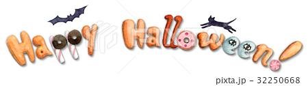 ハッピーハロウィンクッキー文字ロゴ動物付き 32250668