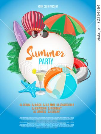 summer vector banner design template in beachのイラスト素材