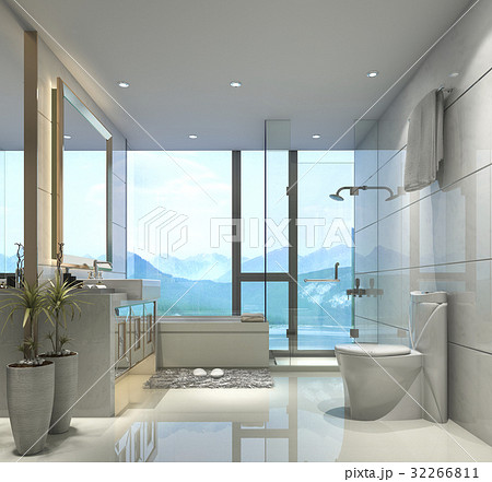 Modern Bathroom With Luxury Tile Decor Nice View