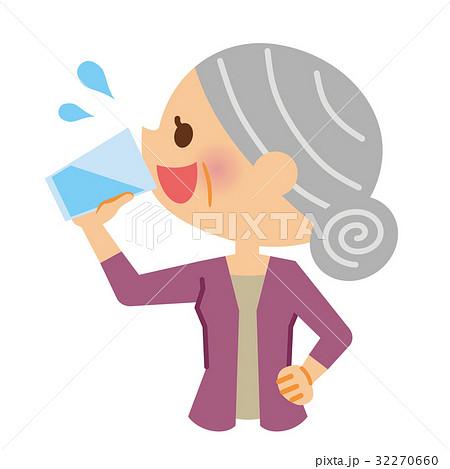 水分補給 シニア 女性のイラスト素材 32270660 Pixta