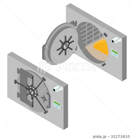 Bank Saving Door Set Isometric View. Vectorのイラスト素材 [32273810] - PIXTA