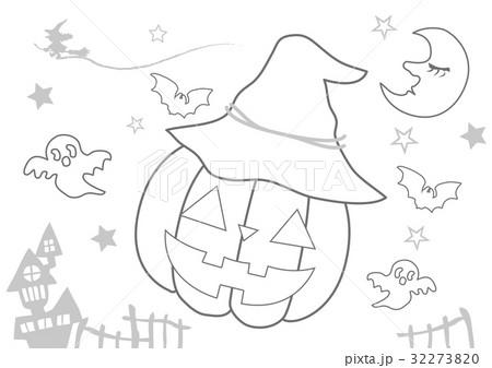 ハロウィンぬりえのイラスト素材 32273820 Pixta