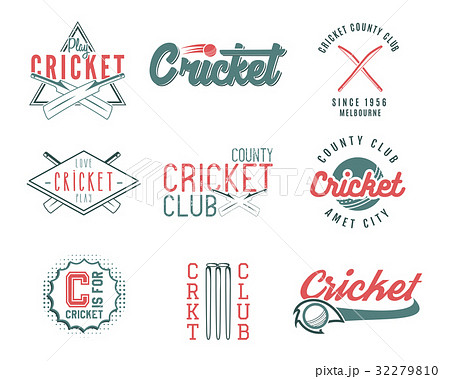 set of retro cricket sports template logo designsのイラスト素材