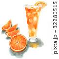 カットオレンジとオレンジジュース 32280515