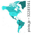 Political map of Americas in turquoise 32283561