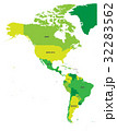 Political map of Americas in green 32283562