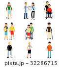 Disabled people characters, handicapped men and 32286715