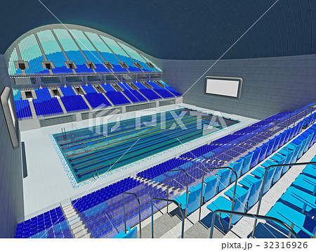 Indoor Olympic Swimming Pool Arena With Blue Seats 32316926 Pixta