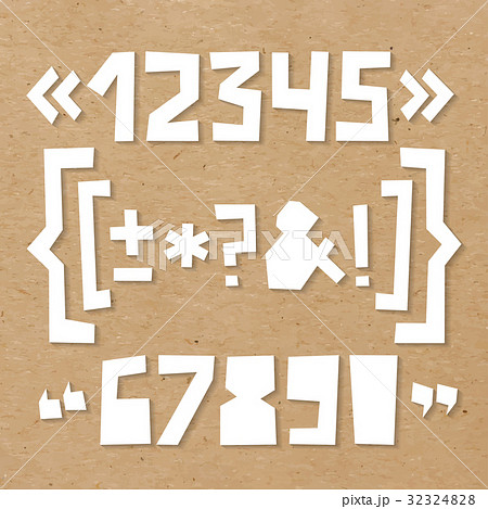 Rough numbers and symbols cut out of paper on 32324828