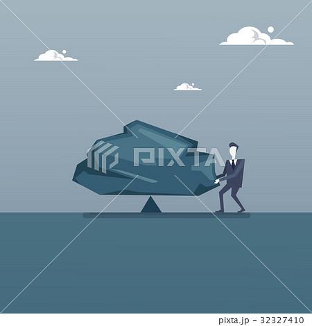 Business Man Balancing Big Stone Debt Loan Crisis 32327410