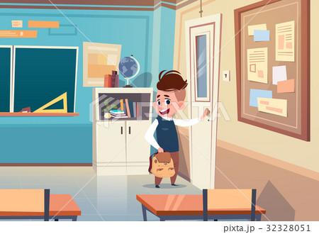 small school boy in classroom elementary classのイラスト素材