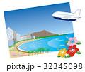ワイキキビーチ&ハイビスカス&旅客機 32345098