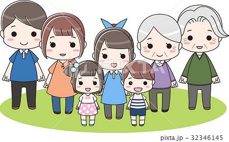 三世代の大家族とペット ファミリー集合 全身 32346145