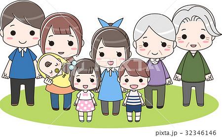 三世代の大家族 ファミリー集合 全身 32346146