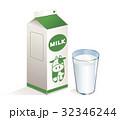 牛乳 英語表記緑パックA(黄白色)&コップ(青) 32346244