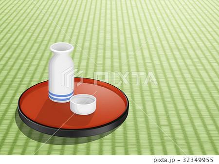 畳においた和盆、そして日本酒 32349955