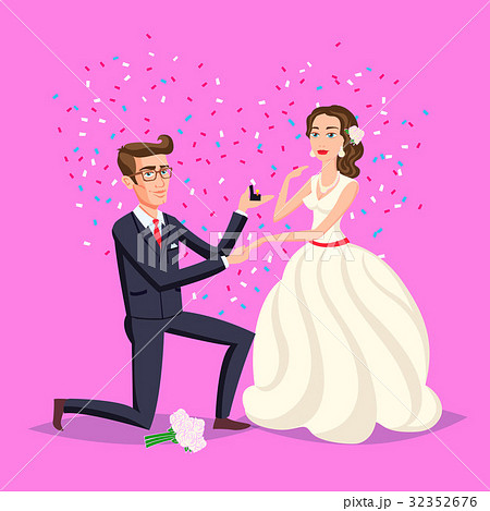 wedding and marriage couple design vector flat のイラスト素材