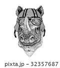 Rhinoceros, rhino wearing biker helmet Animal with 32357687