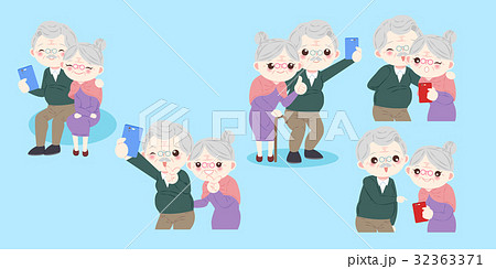 cute cartoon old couple 32363371