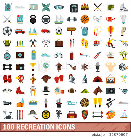 100 recreation icons set, flat style 32370607