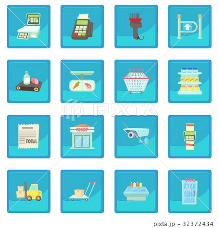 Supermarket items icon blue app 32372434