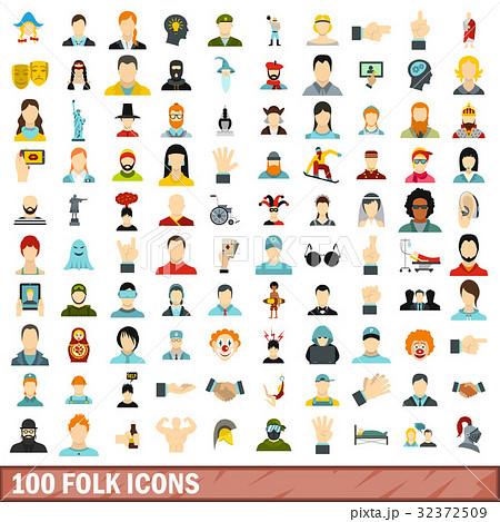 100 folk icons set, flat style 32372509