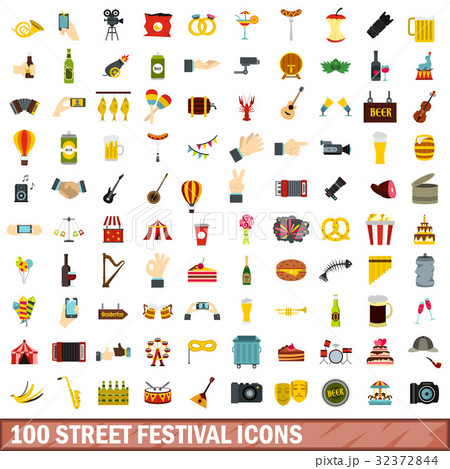 100 street festival icons set, flat style 32372844