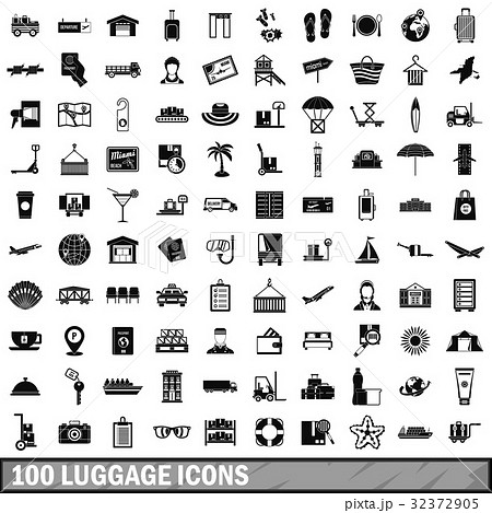 100 luggage icons set, simple style 32372905