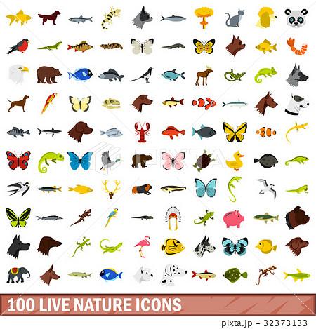 100 live nature icons set, flat style 32373133