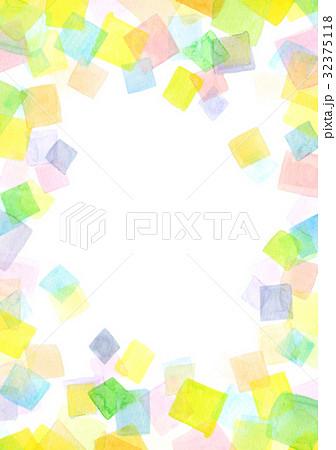 水彩テクスチャー 幾何学模様 フレーム 32375118