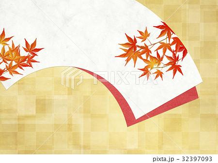 和を感じる背景素材(扇、金箔、市松模様、紅葉) 32397093