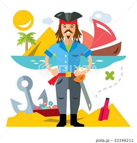 Vector Pirate with saword. Flat style colorful 32398211