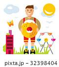 Vector Donut boy. Cartoon illustration. 32398404