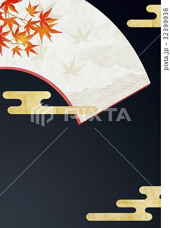和を感じる背景素材(扇、紅葉、雲) 32399936