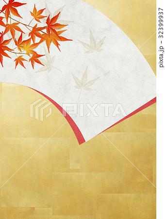 和を感じる背景素材(扇、金箔、紅葉) 32399937