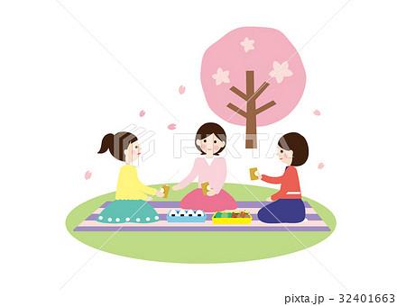 人物素材-お花見2(女子会) 32401663
