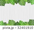 ボタニカル 熱帯植物 フレーム 葉っぱ 白木 32401910