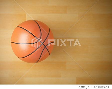 3D rendering basketball ball on wooden floor 32406523