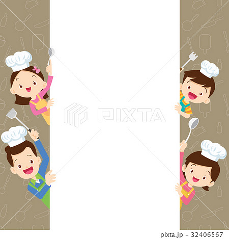 Cute family happy cooking with space frame 32406567