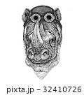 動物 ビンテージ サイのイラスト 32410726