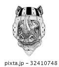 Rhinoceros, rhino Wild animal wearing rugby helmet 32410748